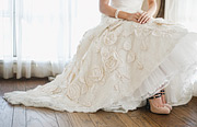wedding gown close up, floral detail
