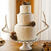 wedding cake detail, pine cones, antlers