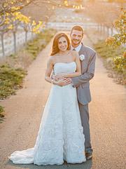 bride and groom portrait, sunset, soft warm light