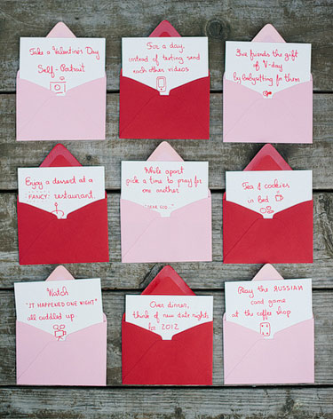 Pink and Red envelopes with handwritten notecards for Valentines's Day