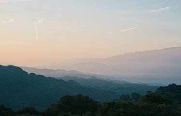 sunrise over the Crystal Springs Reservoir in California