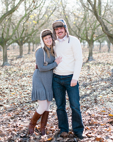couple portrait in apple orchard