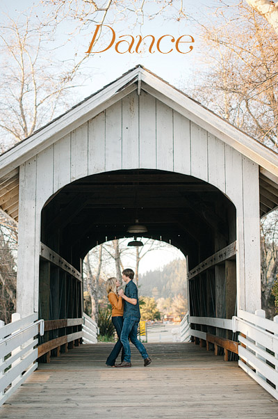 Couple dancing on the bridge