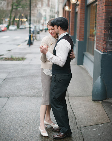 Couple dancing on the streets of downtown Portland, OR
