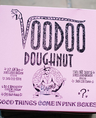 Voodoo Doughnuts pink box. The magic is in the hole.