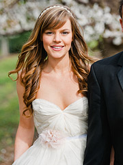 Bride wearing Sarah Seven wedding dress / gown