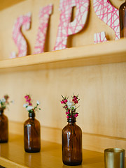Flowers in the vintage bottles