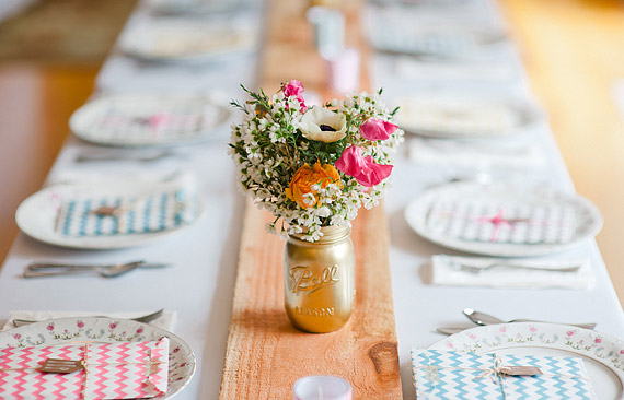 Pastel colors of reception details