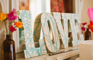 Love letters wrapped with light blue string