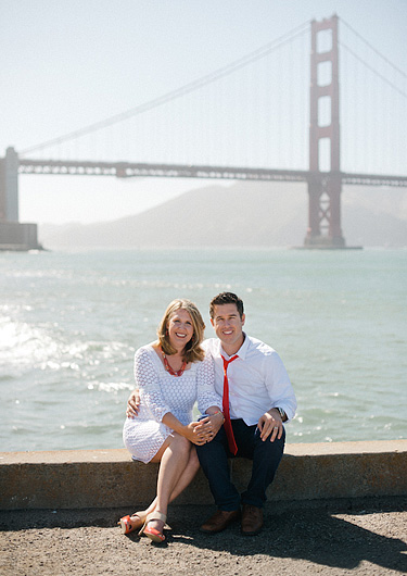 Couple in front of Golden Gate Bridge in San Francisco