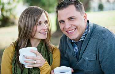A photo of a couple drinking hot chocolate together