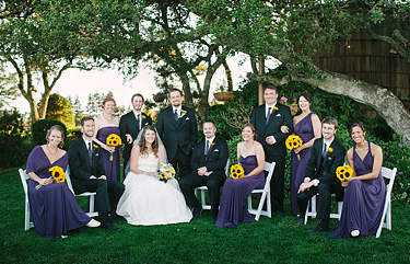 Bridal party photo at the Thomas Fogarty Santa Cruz Mountains Winery