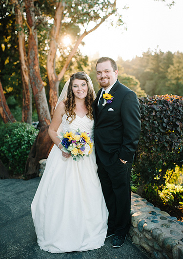 Wedding couple portrait with beautiful warm light at Thomas Fogarty Santa Cruz Mountains Winery