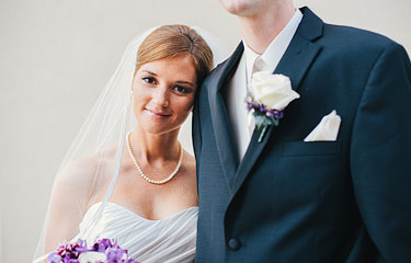 Bride leaning on the groom's shoulder. St. Louis wedding photography.