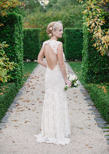 Bride wearing a beautiful lace wedding gown.