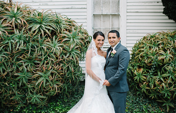 Birde and groom in front of the cacti in San Francisco