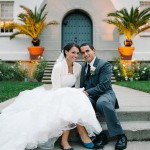 Bride and groom portrait at the Film Centre in Presidio. San Francisco wedding photography.