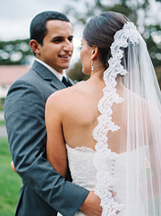 Bride wearing a gorgeous lace veil