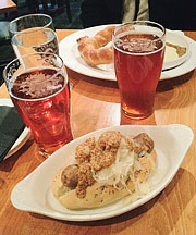 Appetizers and beer at Deschutes Brewery in Portland, OR