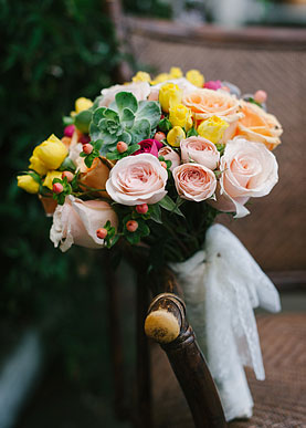 Beautiful colorful bride's bouquet.