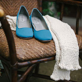 Bride's blue shoes