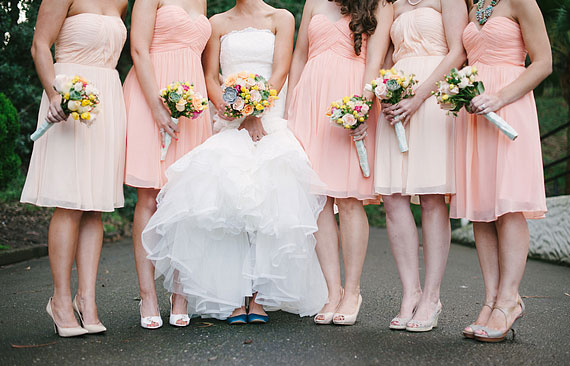 Detail of bridesmaids and their shoes