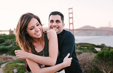 Engagement photos in front of the Golden Gate Bridge.