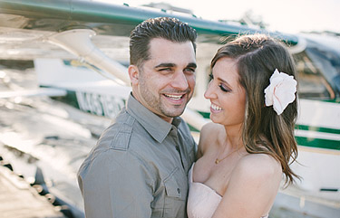 Engagement photos in front of the Seaplane Adventures plane in Sausalito, CA