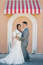 Bride and groom in Rios-Lovell Winery in Livermore, CA
