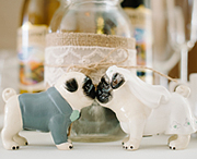 Bride and Groom Pug Salt and Pepper Shakers