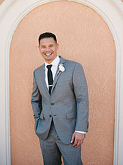 Groom wearing a gray suit