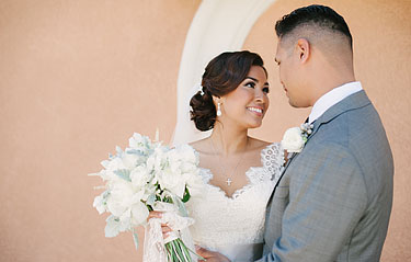 Portrait of bride and groom at Rios-Lovell Winery in Livermore, CA