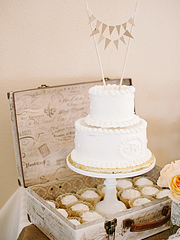 Wedding cake inside of an open vintage suitcase