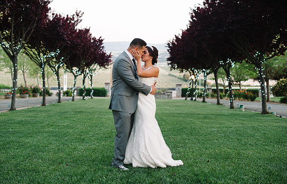 Bride and groom and the Rios-Lovell Winery venue in Livermore