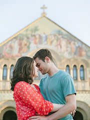 Lauren and Kyle in front of the Stanford Memorial Church. Lifestyle editorial photos of an engaged couple.