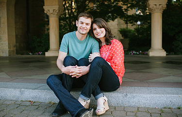 Portrait of and engaged couple at Stanford University.