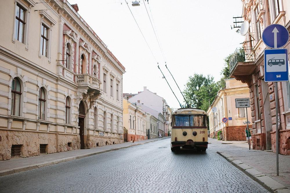 Trolley on the cobblestone streets of Chernivtsi in Ukraine