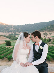 Bride and groom portrait at Clos LaCahnce Winery