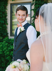 Groom looking at the bride