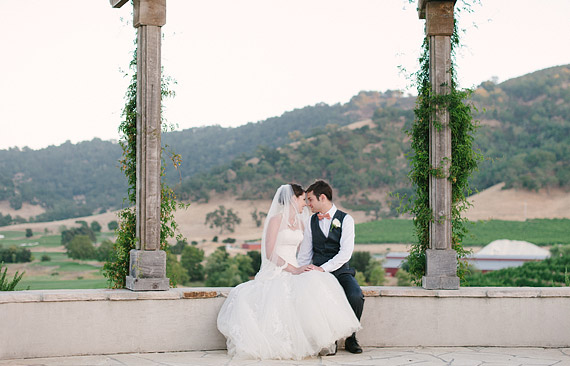 Bride and groom at Clos LaChance Winery