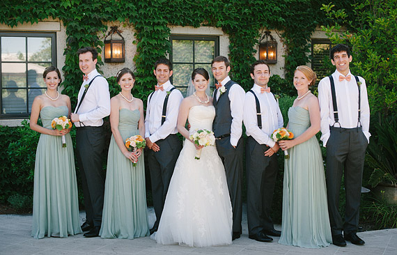 Bride and groom with the bridal party at Clos LaChance Winery
