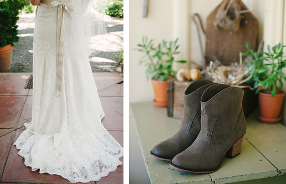 Bride's dress and boots / shoes.
