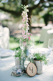 Wedding table centerpiece at Beltane Ranch.