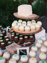 Cake and cupcakes at the reception at Beltane Ranch.