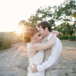 Sunset photos of the bride and groom. Beltane Ranch wedding photography.