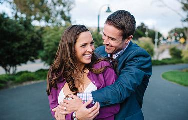 Engagement portraits in San Francisco Marina.