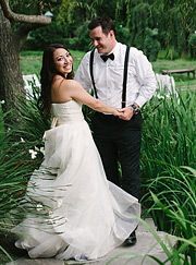 Bride and Groom under the tree near the pond at Nestldown Los Gatos