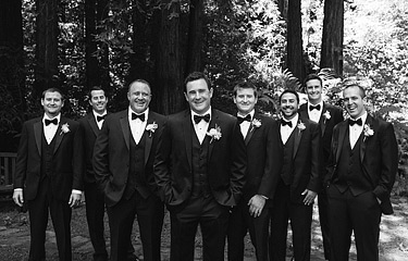 Groomsmen together for pictures at Nestldown Los Gatos