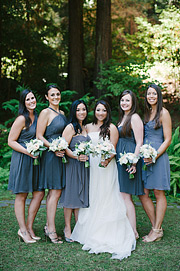 Bride with bridesmaids at Nestldown in Los Gatos