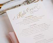 Dinner menu with custom caligraphy